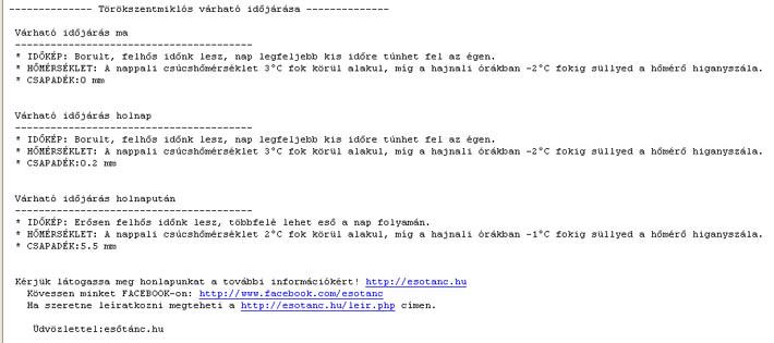 Emailes időjárás előrejelzés